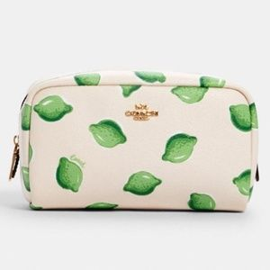 COACH Boxy Cosmetic Case Lime Print